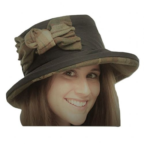 Navy Waxed Cotton Cloche Style Outdoor Hat - Ruby